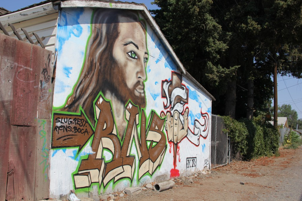 A frequently tagged shed in Southeast Yakima has been replaced by an artistic mural.