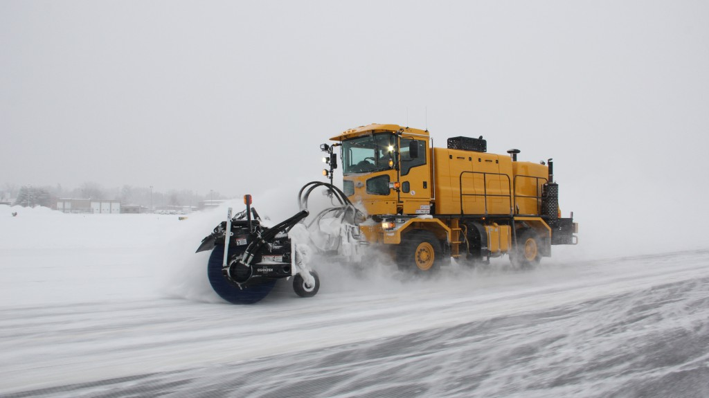 The new snow plow/sweeper purchased this year is in action as it clears the Yakima Airport runway of snow after another significant snow event hit Yakima earlier this week.
