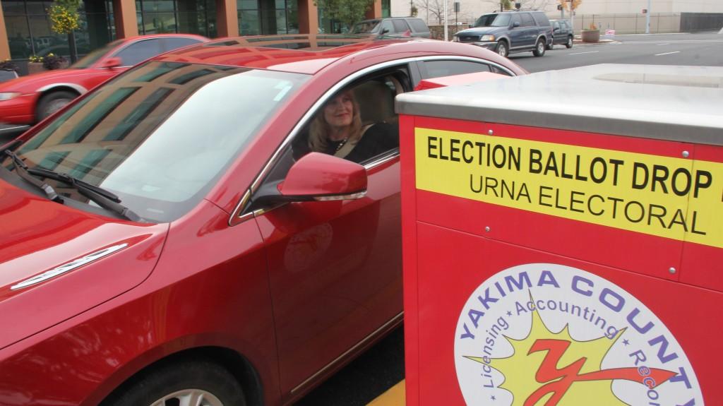 An off year election didn't deter this voter from using the drive-up Ballot box at the Yakima County Courthouse.