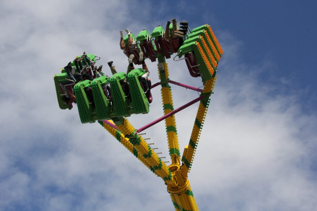 Fairgoers flip on one of the many midway rides featured at the 2016 Central Washington State Fair!