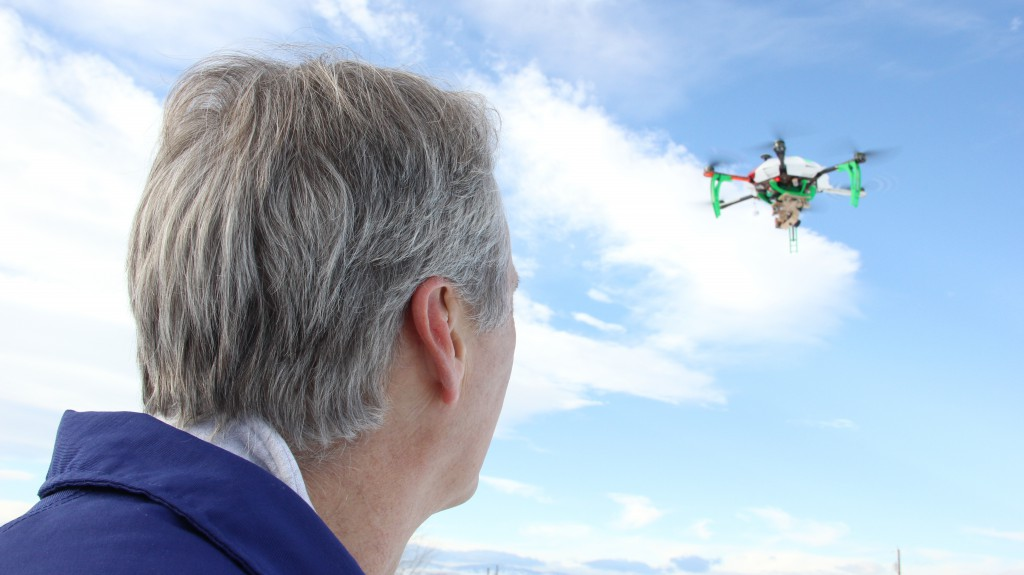 Licensed UAV Pilot Gary Berg flies his homemade hexacopter outside of the City of Yakima's No Fly Zone, a 5 mile radius around the Yakima Airport.