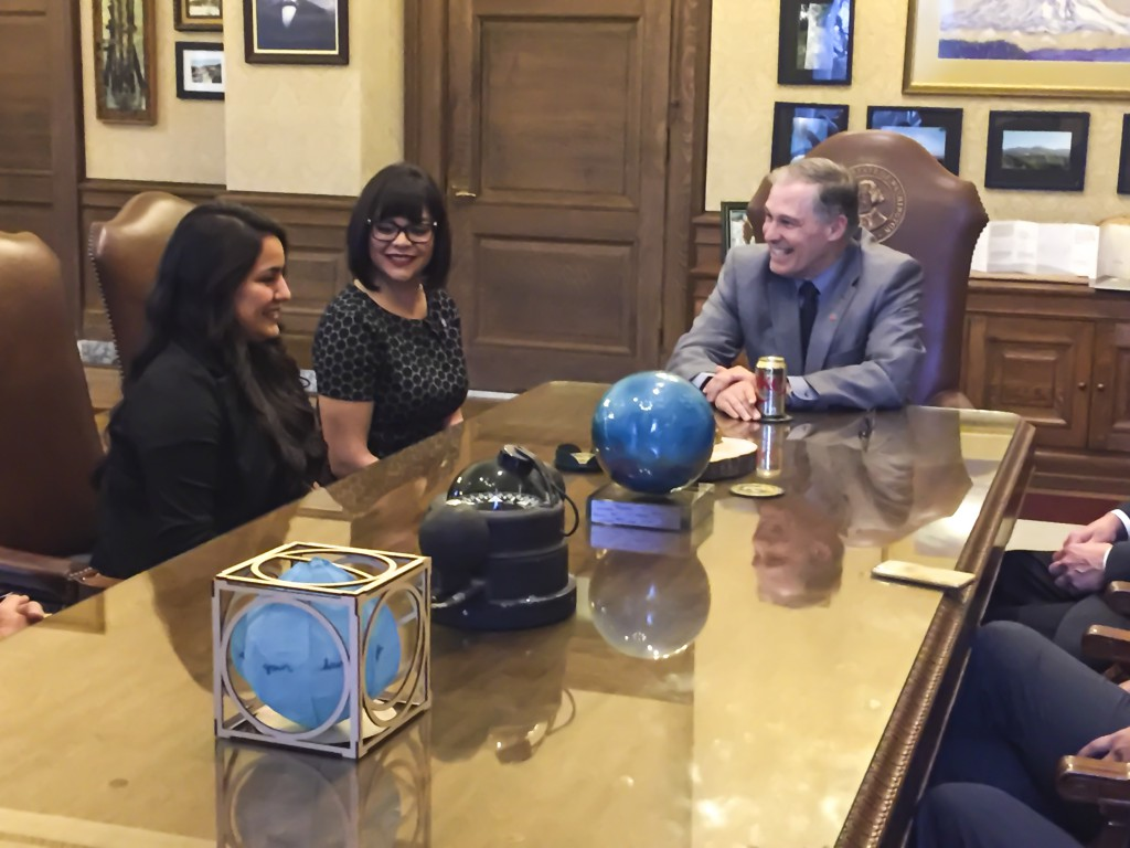 Yakima Mayor Avina Gutierrez and Yakima City Councilmember Dulce Gutierrez meet with Washington State Governor Jay Inslee in the governor's office in Olympia.