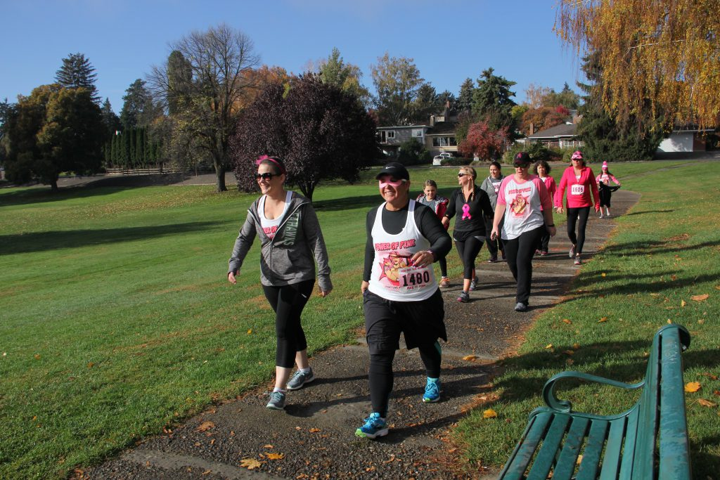 A group takes the opportunity to walk for breast cancer awareness around Yakima's Franklin Park on another beautiful autumn day.