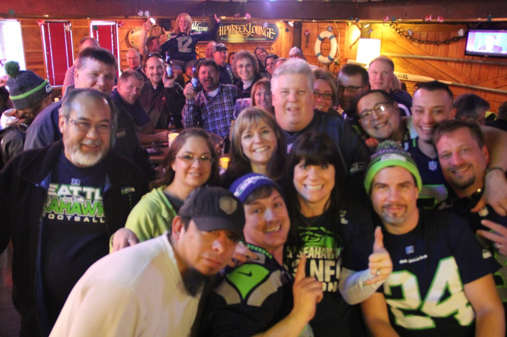 A large contingent of 12th men and women meet to Rally support for the Seahawks at a local restaurant on Friday, January 31st prior the Seattle Seahawks victory in Superbowl XLVII.