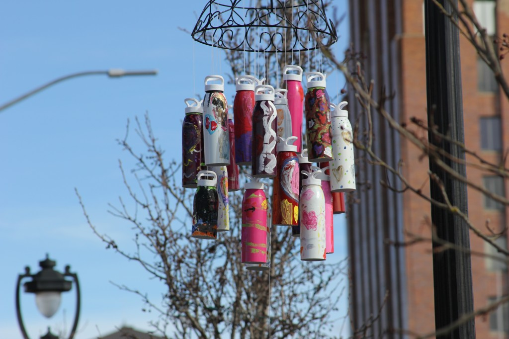 Allied Arts most recent spontaneous art project incorporated Liberty Bottleworks bottles as wind chimes in the downtown area.