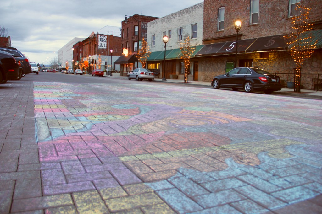 Another spontaneous art project from Allied Arts took shape on a portion of Front Street. The brick street was used as a temporary canvas for this colorful chalk mural created on March 16th, 2014.