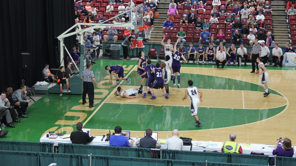The River Ridge and Anacortes boys teams battle for a spot in the 2A state final game  during the WIAA Hardwood Classic at the Yakima Valley Sundome on March 6th, 2015.