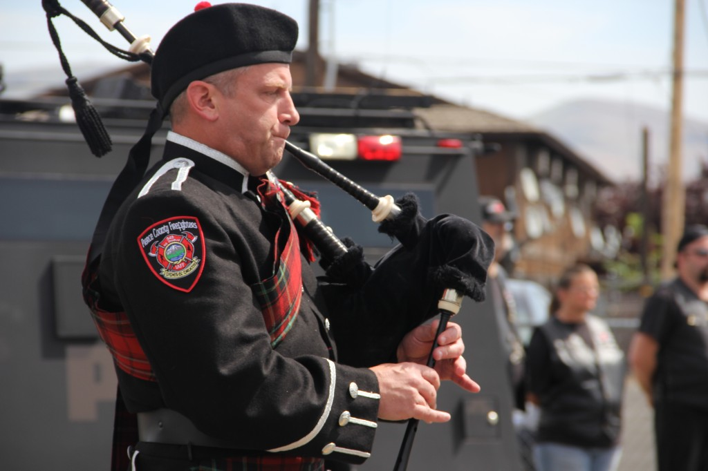 Bagpipes blow to honor fallen officers at the Law Enforcement Memorial event held on Thursday, May 15th.