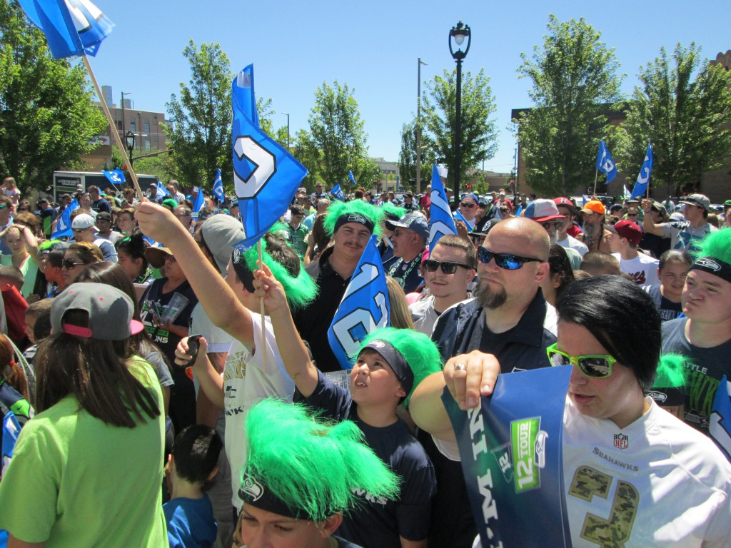 "Hundreds of Hawk fans gather to show their support as the Seattle Seahawks ""12 Tour"" makes a stop at Yakima's Performance Park."