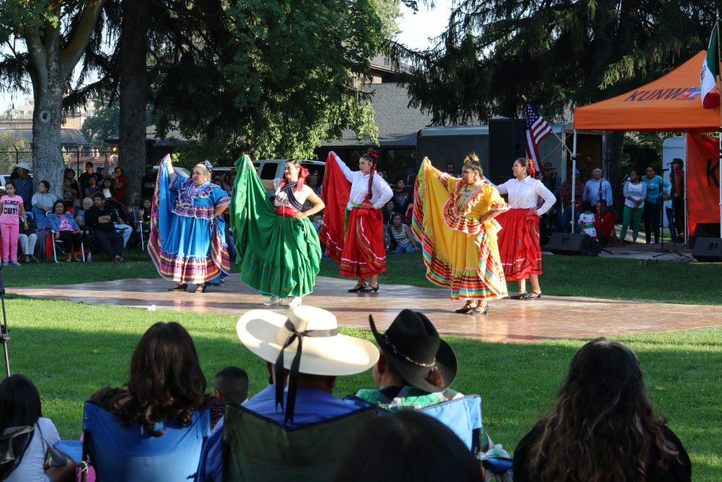 Dancers from Folklorico perform for the crowd at the Viva La Musica  concert series finale' celebration at Miller Park. Photo by Bonnie Lozano