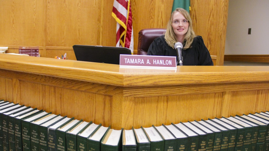 Newly appointed Court Commissioner Tamara A. Hanlon prepares for the next court docket in Yakima Municipal Court.