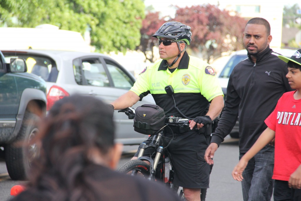 Bike Patrol Officer Gary Garza keeps an eye on the crowd at another successful Downtown Summer Nights Concert. YPD bike Patrols will continue to operate in Downtown Yakima through the summer.