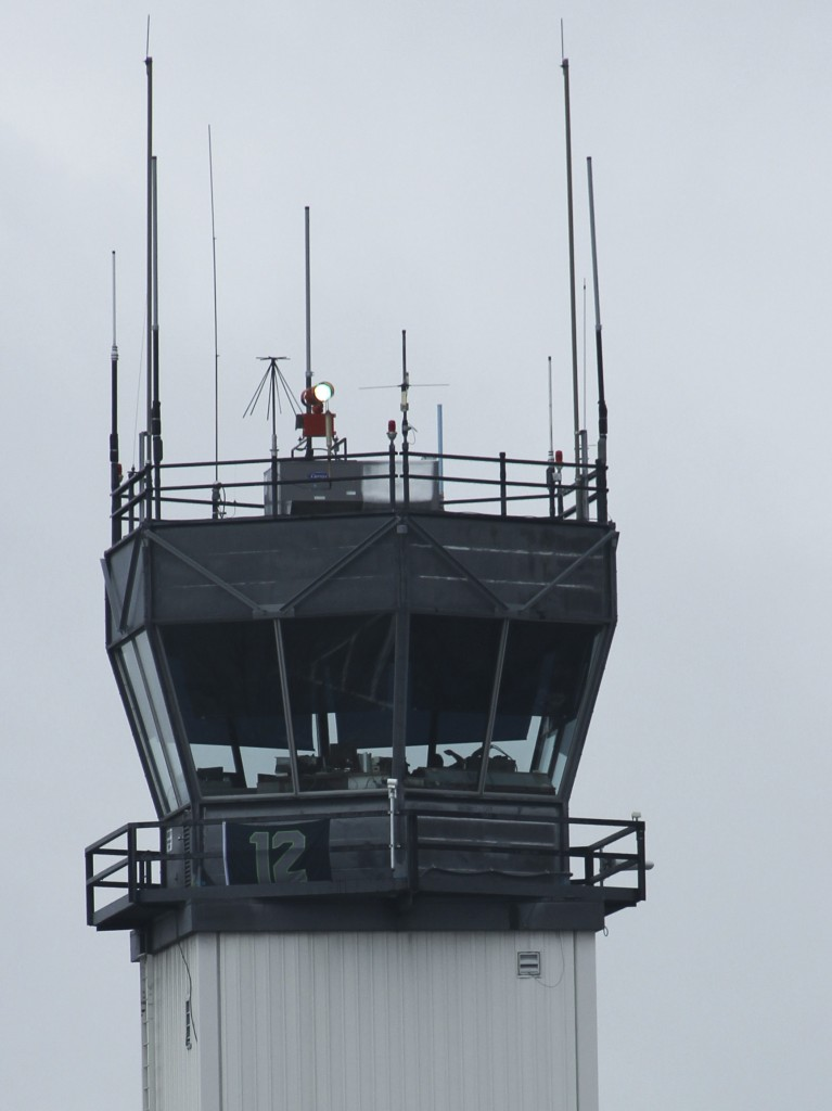 The ever vigilant 12th man keeps a hawk eye from the Tower at the Yakima Air Terminal.