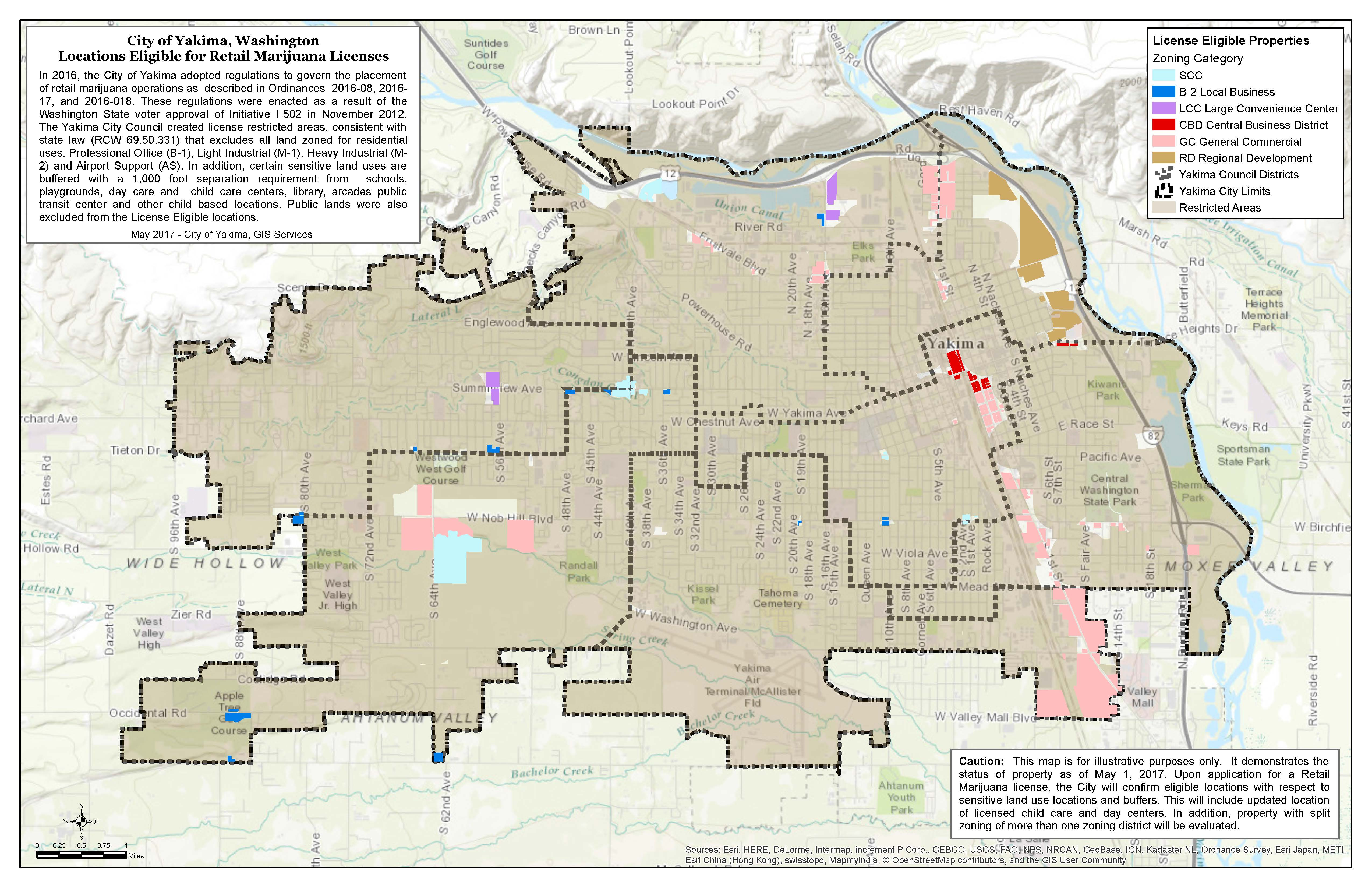 Map of Eligible Properties for Marijuana Retail License Planning