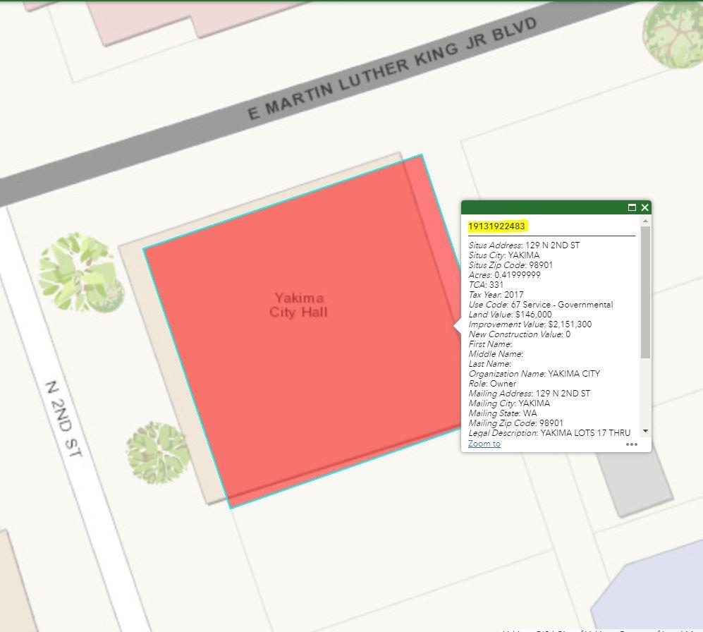 Screenshot of CityMap displaying parcel number