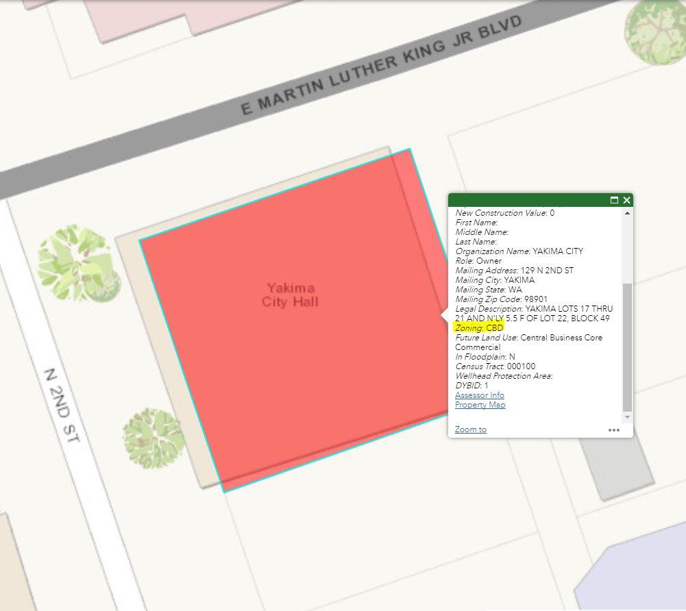 Screenshot of CityMap displaying zoning district