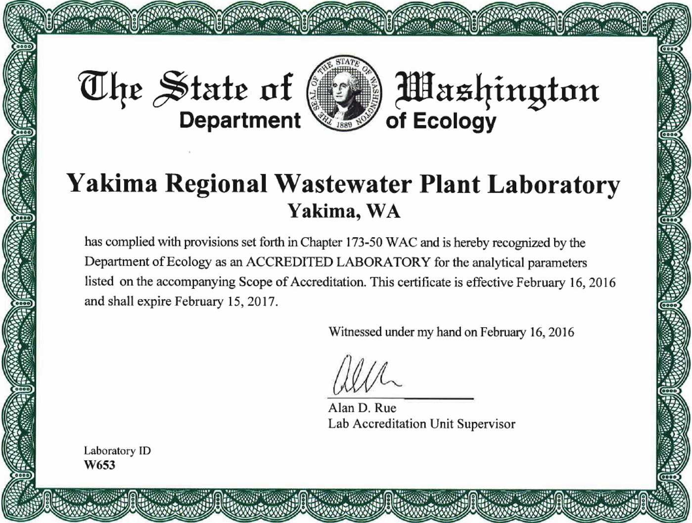 Laboratory Certification Wastewater Treatment Plant